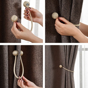 Magnetic curtain buckle Magnetic pearl ball tie rope with curtain accessories Home textile accessories magnet tie rope(China)