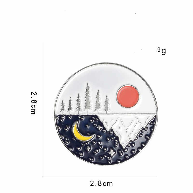 2 Pin мультфильм Луна солнце день и ночь попеременно Броши для женщин творческие Круглые Эмалированные шпильки ювелирные изделия сумка приспособление для Бейджа
