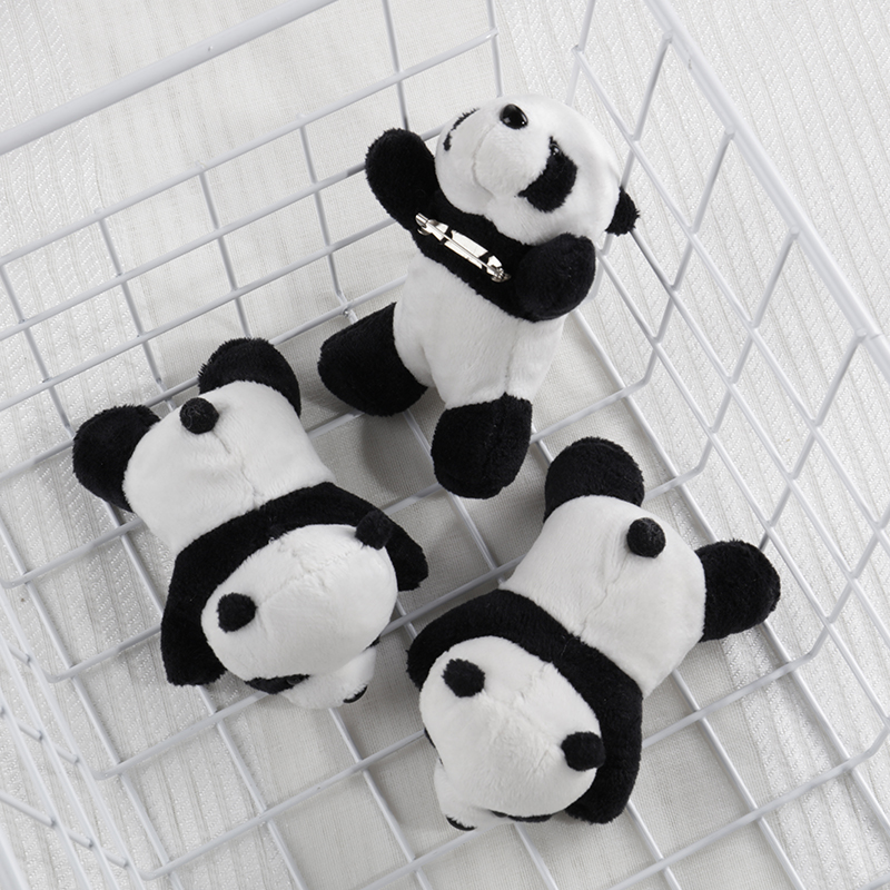 2019 Women Trendy Fashion Panda Women Clothes Plush Beautiful PINS BROOCHES Cute Stuffed Animal Bag Charm Accessary Kids Girls