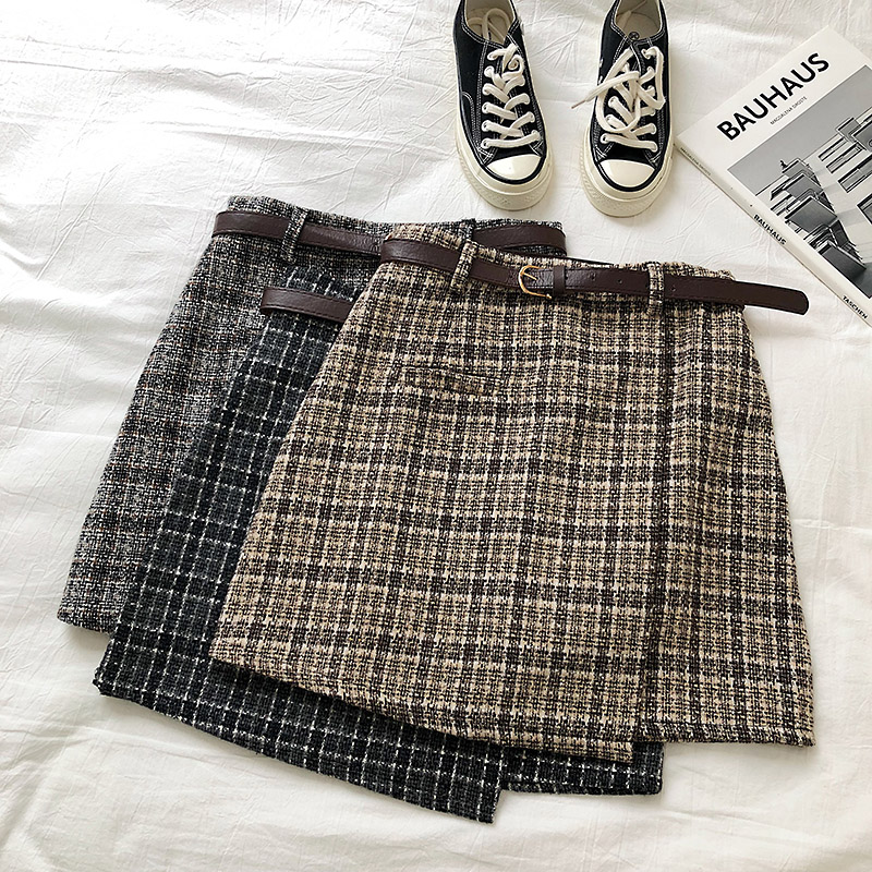 Vintage Women Plaid High Waist Mini Skirt 5
