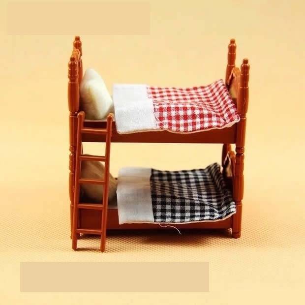 Happy Family Double Beds Doll House Miniature Dollhouse Mini Bedroom Set Mini Living Room Furniture Toy Gift