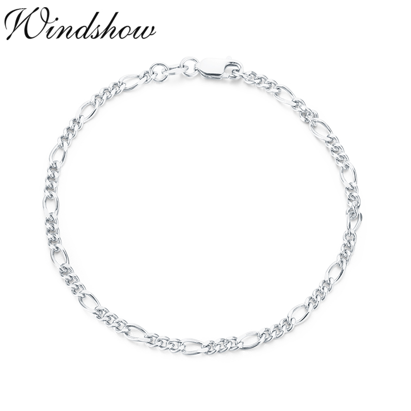 925 Solid Sterling Silver FIGARO chain BRACELET 3mm NEW