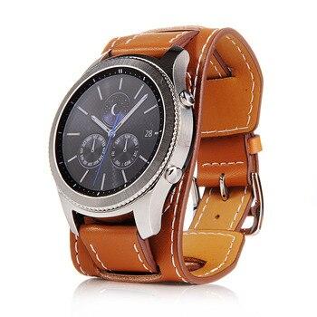להקת שעון עור אמיתי רצועת 22mm עבור Samsung Galaxy Watch 46mm Watchstrap עבור Samsung Gear S3 צמיד חגורת ספורט רצועת השעון