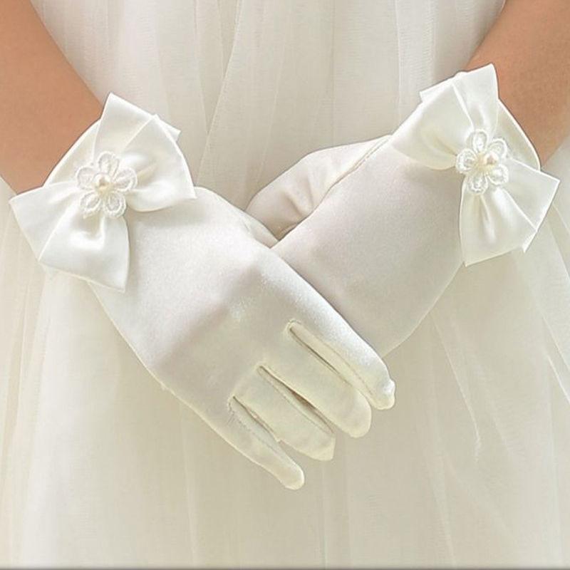 1 Pair Sweet Flower Girls Short Gloves Bowknot Solid Color Soft Children Kids Fashion Elegant Gloves Mittens