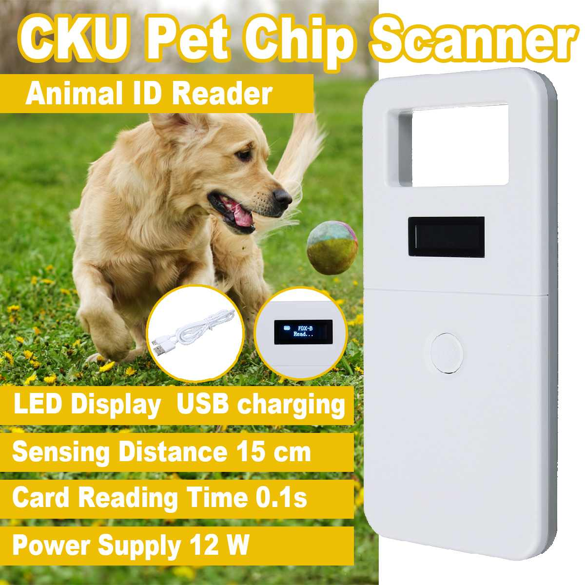 New ISO11784/11785 Pet RFID Chip Reader 134.2KHz FDX-B For Dog Cat LED Display Animal Microchip Scanner Tag Barcode Scanner