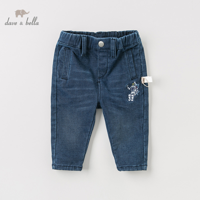 DBA10944 dave bella autumn baby boys pants children full length kids jeans pants infant toddler trousers