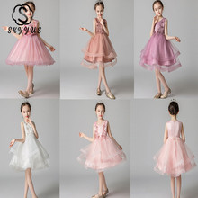 Skyyue Flower Girl Dress for Wedding Applique Tulle White Ball Gown Kid Party Communion Dress O-neck 4 Colors 3-8 Year 2019 A01 купить дешево онлайн