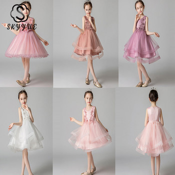 Skyyue Flower Girl Dress for Wedding Applique Tulle White Ball Gown Kid Party Communion Dress O-neck 4 Colors 3-8 Year 2019 A01 new cute sleeveless criss cross back backless puffy tiered scoop neck white ball gown flower girl dress for wedding kid gown
