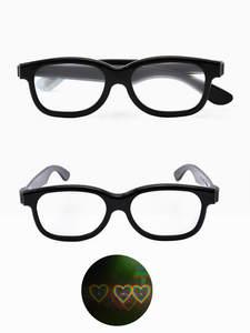 Laser-Grating-Glasses Light Fireworks Rave-Prism Plastic Yellow 3D Heart Black No Frame