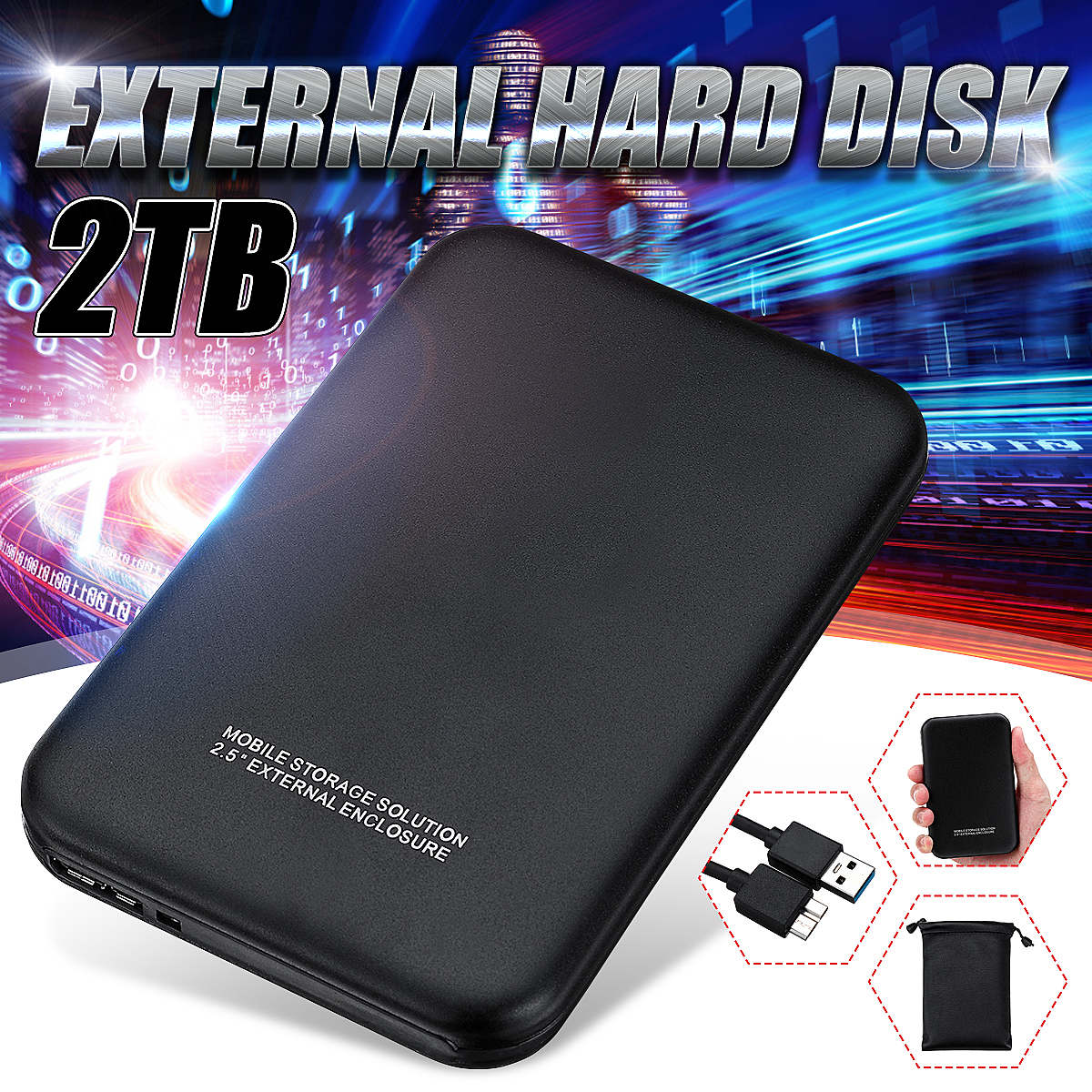 USB 3.0 PC Hard Drive 1/2T Neutral Hard Drive Black Upgrade High Transmission Support HDD/SSD With USB Cable Business