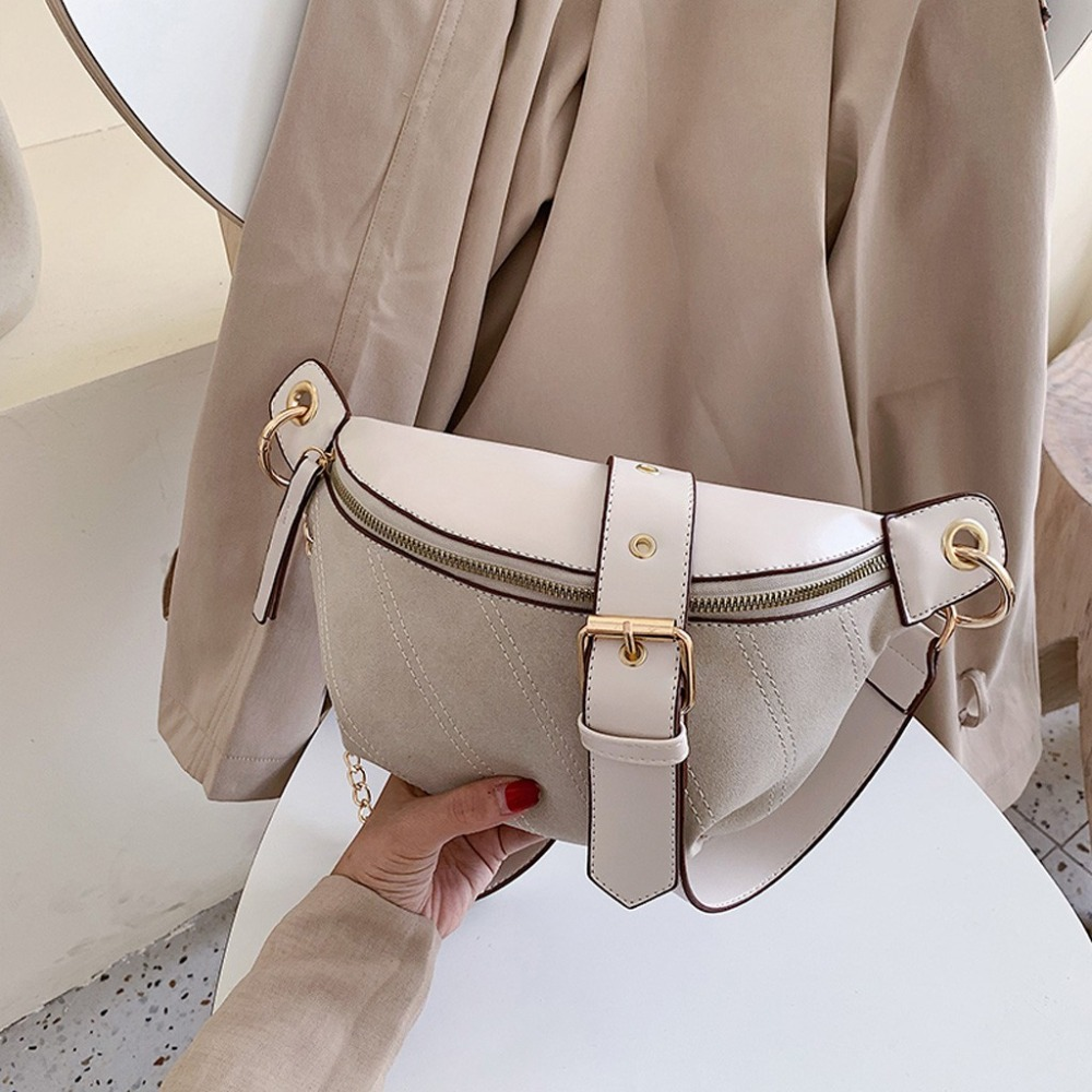 Fashion Chain Fanny Pack Banana Waist Bag New Brand Belt Bag Women Waist Pack PU Leather Chest Bag Belly Bag