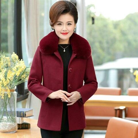 Winter Women Wool Blend Pea Coats Green Purple Red Thick Warm Fur Turn Down Collar Tweed Jacket Mature Women Elegant Peacoat 4XL Multan