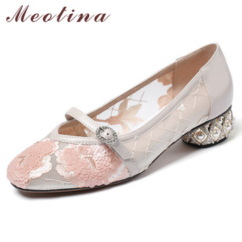 Meotina High Heels Women Pumps Natural Genuine Leather Pearl Strange Style Heels Shoes Buckle Cutout Round Toe Shoes Lady 33-43