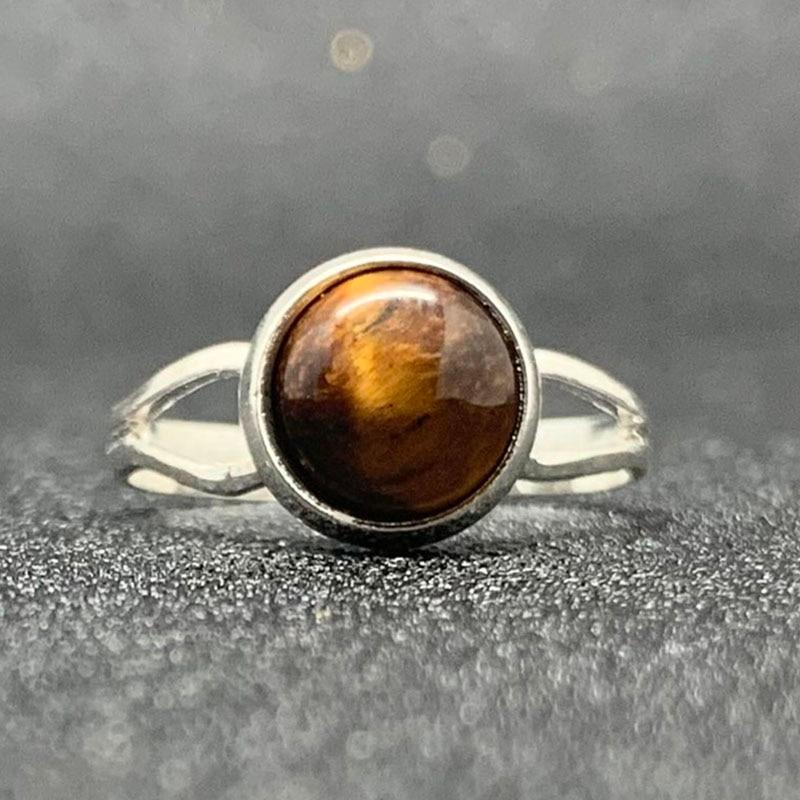 Женские свадебные кольца с натуральным камнем в стиле бохо, ручная работа, большой камень 8 мм, тижерейный лунный камень, опал, малахитовые о...