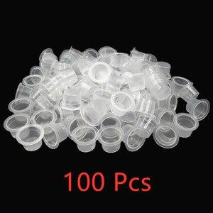 Image 1 - 100 adet S/M kalıcı makyaj Pigment temizle tutucu konteyner kapaklı plastik tek kullanımlık Microblading dövme mürekkep bardaklar dövme aksesuar