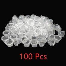 100pc S/M 영원한 메이크업 안료 명확한 홀더 콘테이너 모자 플라스틱 처분 할 수있는 Microblading 귀영 나팔 잉크 컵 귀영 나팔 부속품