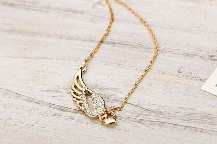 Koreański biżuteria Rhinestone hollow skrzydła anioła miłość serce naszyjnik