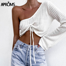 Aproms Sexy One-Shoulder Ruched Sweater Women Casual Flare Sleeve Drawstring Knitted Pullovers Streetwear Gray Soft Basic Top