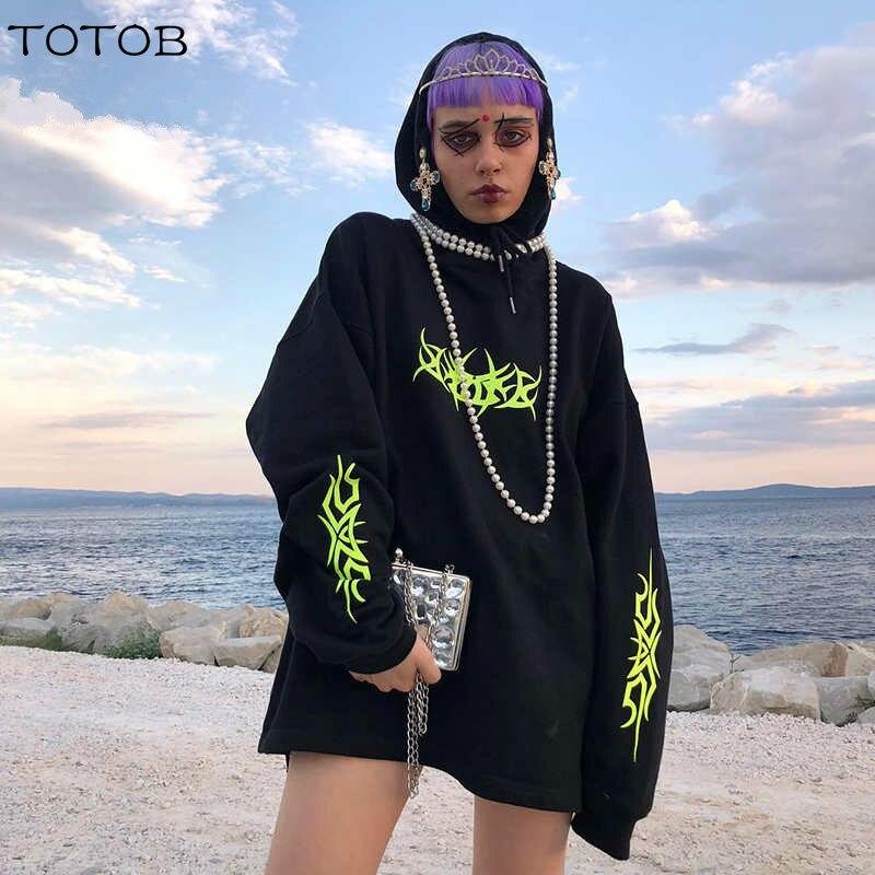 Weekeep Women Loose Streetwear Black Sweatshirt Knitted Hooded Shinning Print Hoodies Fashion Moletom Long Hoodie Women Tops