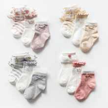 3Pairs/lot Children's Socks Summer Spring Lace Baby Girls Striped Bow Kids Socks Cotton Infant Socks For Girls Princess Style 3pairs lot children s socks summer spring lace baby girls striped bow kids socks cotton infant socks for girls princess style