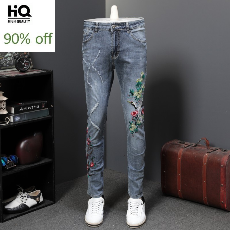 Punk Style Mens Ripped Embroidery Stretchy Denim Pants Full Length Fashion Casual Slim Fit Straight Pencil Trousers Plus Size