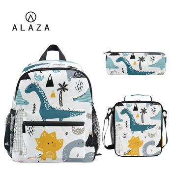 ALAZA 3pcs/set Small Kindergarten Backpack Children School Bags Kids Dinosaur print Schoolbag Baby Toddler Bag Mochila Infantil - discount item  30% OFF School Bags