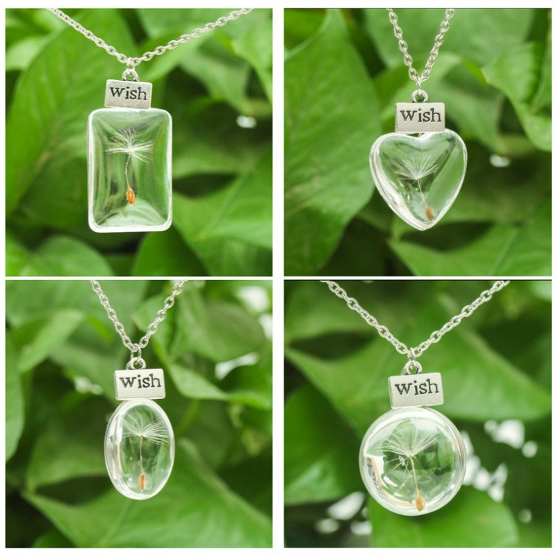 Fashion Necklaces Wish Real Dandelion Crystal Necklace Glass Round Pendants New