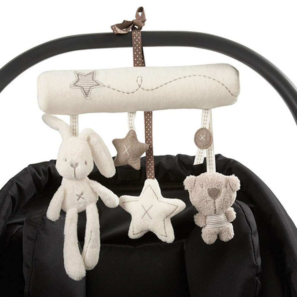 Image 3 - Baby Rattles Cute Soft Rabbit Bear Stars Bed Stroller Toy Musical Mobile Baby Toys Hand Bell Hanging Plush Doll Toy For Infant-in Baby Rattles & Mobiles from Toys & Hobbies