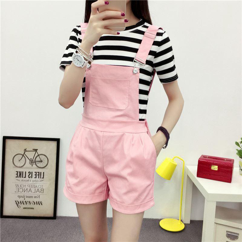 5 Colors Rompers Casual Strap Loose Pockets Shorts Casual Overall Playsuits Women Jumpsuit Overalls  Summer Jumpsuits