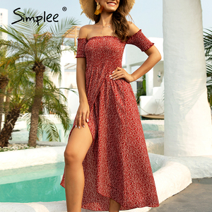Image 2 - Simplee Sexy off shoulder women dress Floral print ruched high waist red party tube dress Casual beach maxi retro summer dress