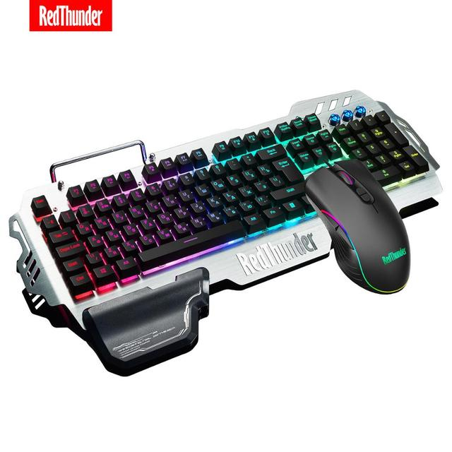RedThunder K900 RGB Gaming Keyboard and Mouse, Sim-Mechanical Metal Cover, 6400DPI 7 Programmable Button for PC  RU ES FR 1