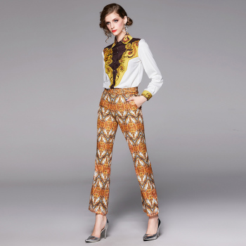 Banulin Vintage Womens Twinset 2019 New Autumn Runway Fashion Floral Printed Tops + Flare trousers Slim Pants 2 piece Set