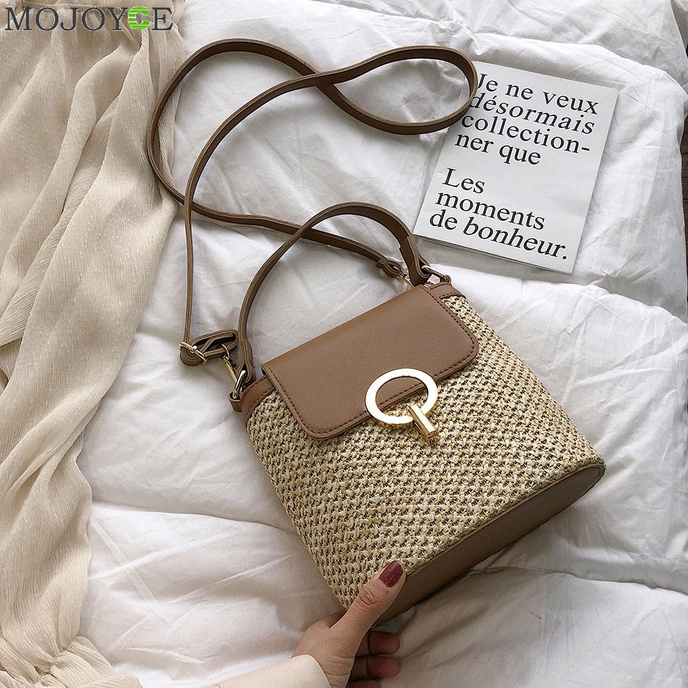 Small Straw Bucket Bags For Women 2020 Summer Crossbody Bags Lady Travel Purses And Handbags Female Shoulder Messenger Bag