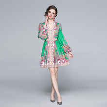Zuoman feminino primavera elegante com decote em v vestido festa de alta qualidade do vintage robe femme lanterna manga designer curto vestidos