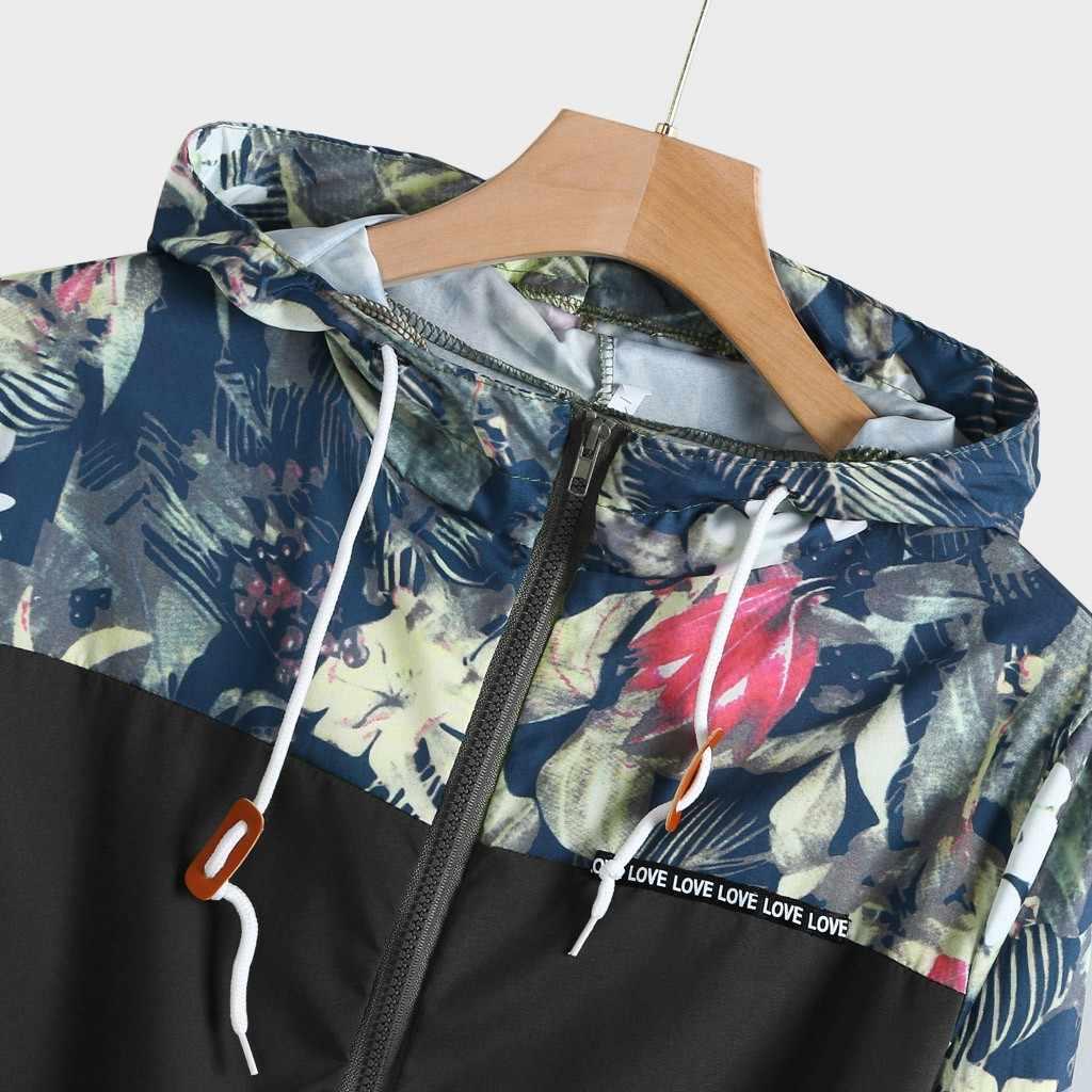 2019 çiçek bombacı ceket erkekler Hip Hop Slim Fit çiçek Pilot ceket ceket erkek kapüşonlu ceketler S-3XL erkek ceket erkekler Coat dış giyim