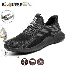 BAOLESEM Man Safety Shoes Male Work Shoes Safety Steel Toe Protection Breathable fashion Work Boots Lightweight Anti-smashing high quality man fashion breathable steel toe covers work safety shoes anti puncture platform tooling boots protection footwear