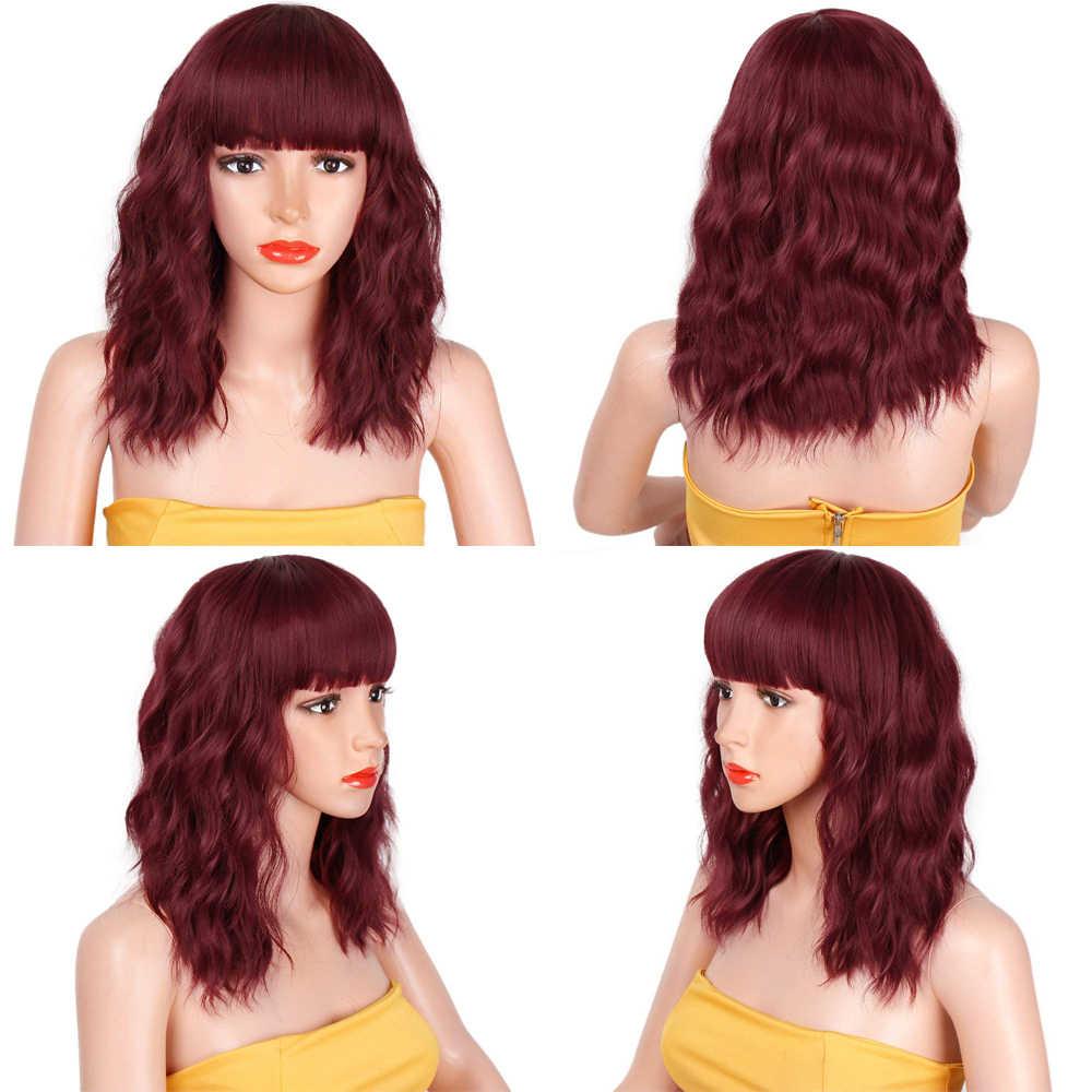 Damgalı muhteşem 14 inç doğal dalga peruk kırmızı kahküllü peruk sentetik kısa peruk kadınlar için ısıya dayanıklı iplik saç