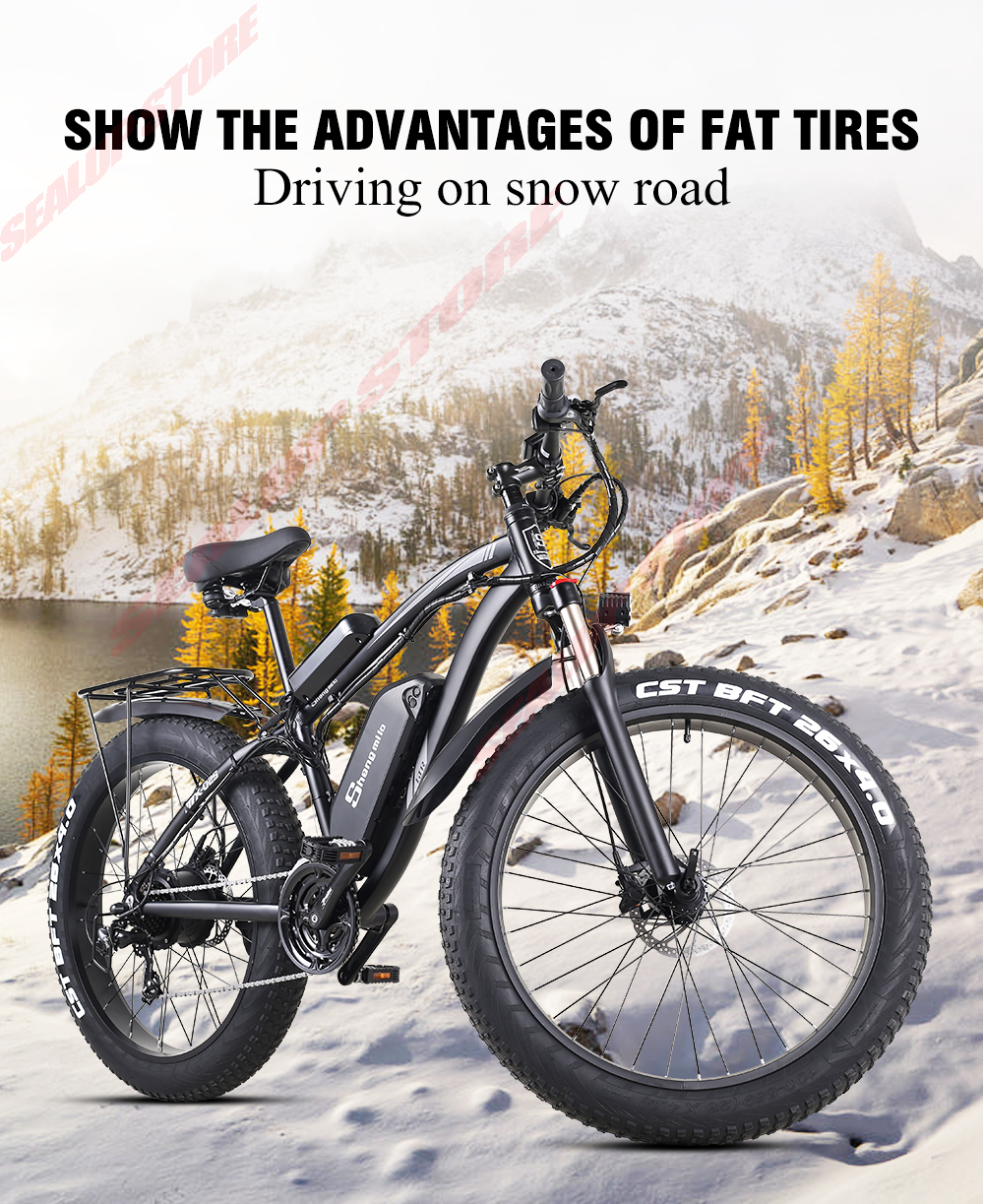 Electric Bike 1000W Snow Ebike 48V Bicycle Increase 26-inch Fat Tires Shengmilo Electric