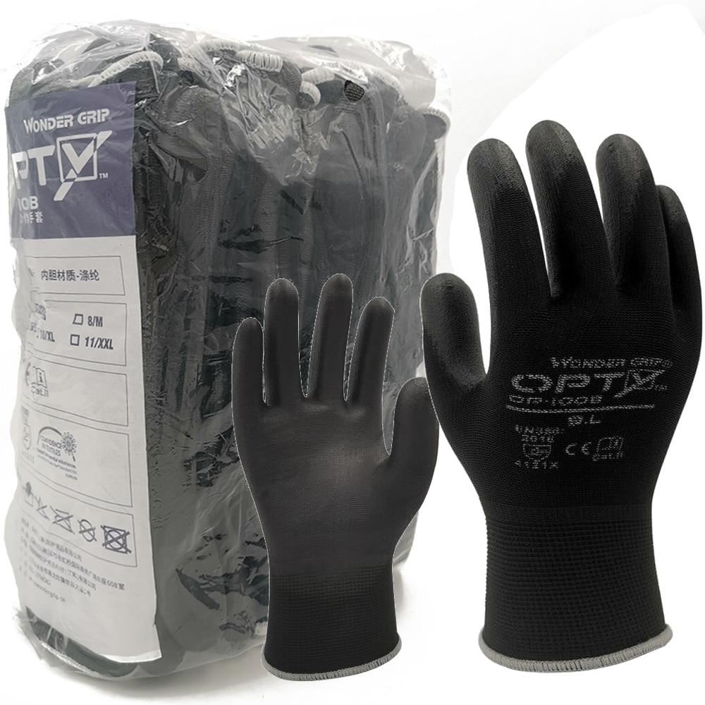 Перчатки для дома Нескользящие износостойкие дышащие рабочие перчатки для работы в саду ПУ защитные перчатки 12 пар