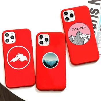 MOUNTAINS STICKER Phone Case For Iphone X Case Pure Red Soft Silicone Phone Case For SE&11 Pro Max image