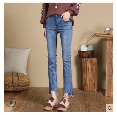 2019 New Straight Jeans Women's Autumn  High Waist Skinny Pants Maa1 Nine-point Pants AA258-10