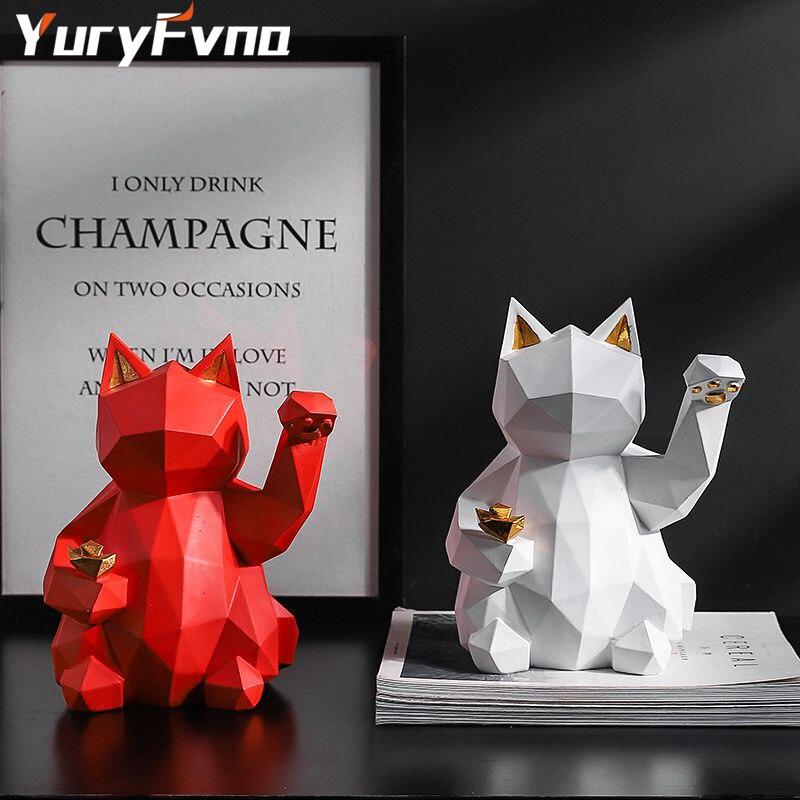 Фигурка в виде животного YuryFvna счастливая кошка фэн-шуй для успешной карьеры, удачи и удачи, очаровательное здоровье