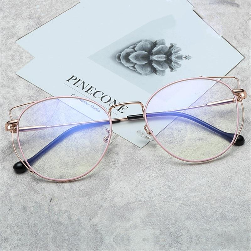 NYWOOH Blue Light Blocking Cat Eye Glasses Frames Women Fashion Metal Optical Spectacles Computer Eyeglasses
