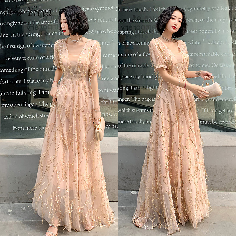 It's Yiiya Evening Dress Plus Size Champagne Sequins Formal Gown Long V-neck Evening Dresses Elegant Tassel Robe De Soiree LF165