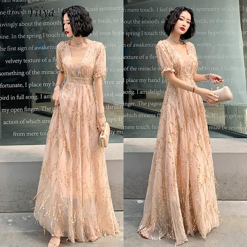 It's Yiiya Evening Dress Plus Size Champagne Sequins Formal Gown Long V-neck Evening Dresses Elegant Tassel Robe De Soiree LF165