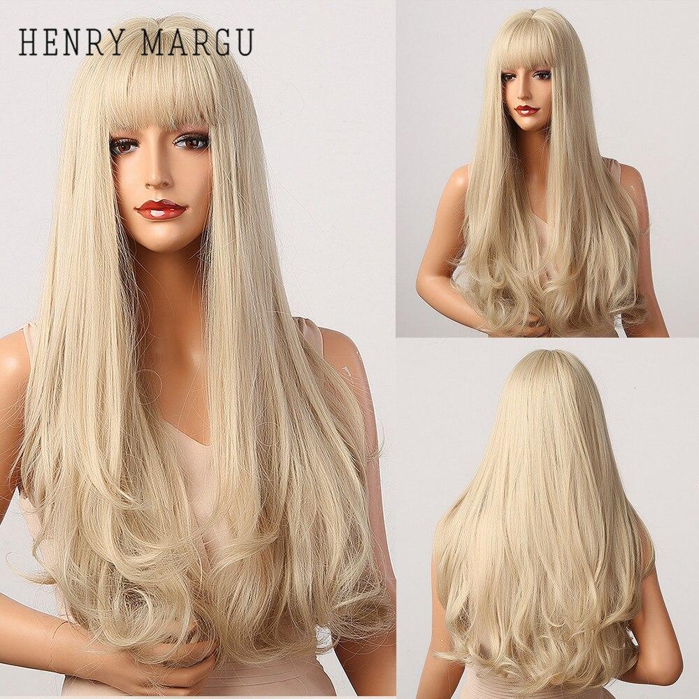 HENRY MARGU uzun doğal dalgalı platin sarışın peruk patlama ile Cosplay parti Lolita sentetik peruk kadınlar için ısıya dayanıklı iplik