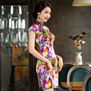 Image 2 - 2019 Summer, New Short High Split Printed Pure Silk Cheongsam Collar Show Thin National Wind Qipao Dress Factory Direct Sale
