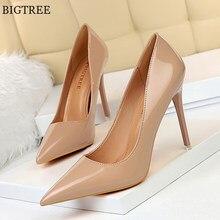 Zapatos de charol conciso para mujer, tacones de oficina puntiagudos, sexys, para fiesta, boda, poco profundos, Color Rojo