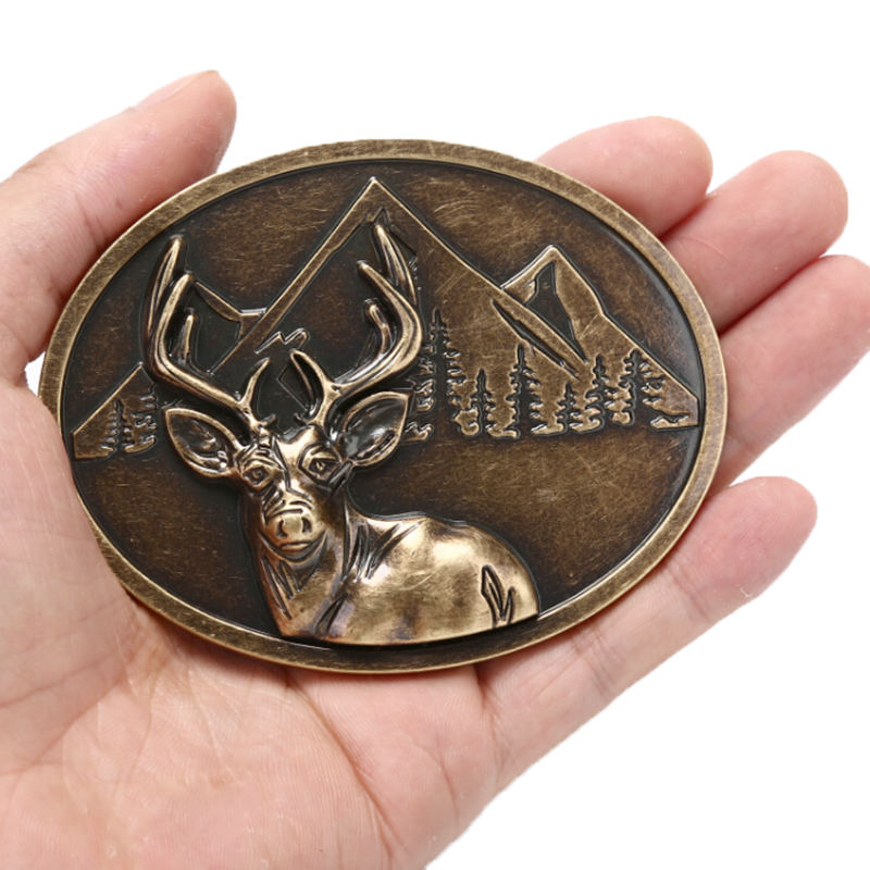 Belt Buckle Deer Head  Bronze Metal Pin Buckles Suitable For 3.8cm Width Belt Fashion Pants Diy Belts