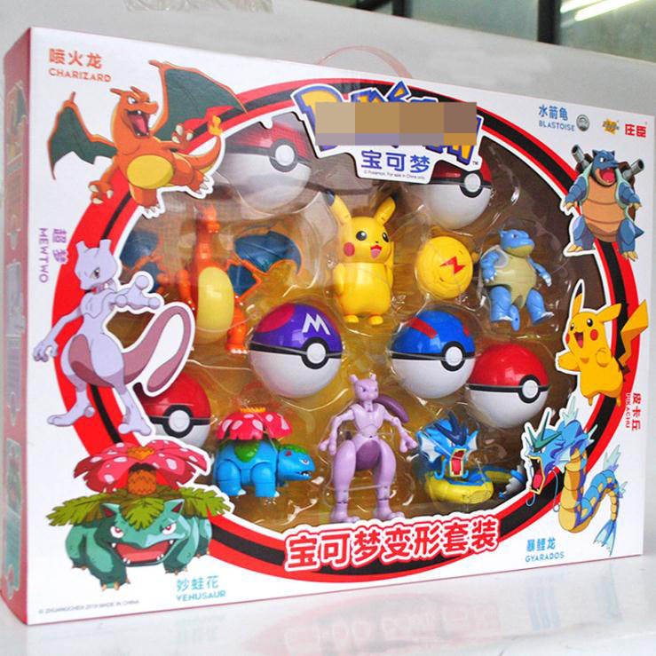 Action Morphing Pokeballs Transformation Toys For Child PIKACHU Charizard Mewtwo Blastoise Venusaur Gyarados Pocket Monster Toys